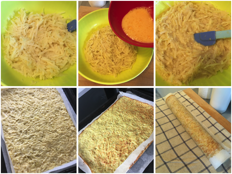 Roulé de pommes de terre fromage et jambon etape 1