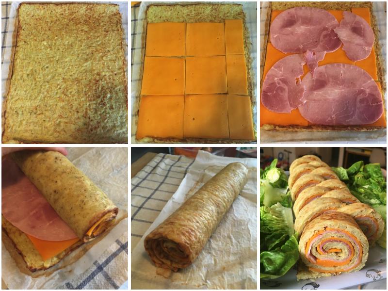 Roulé de pommes de terre fromage et jambon etape 2